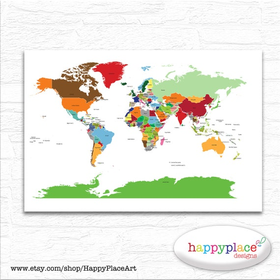 Bright Neutral Gender World Map Printable File In Large 20x30 Etsy