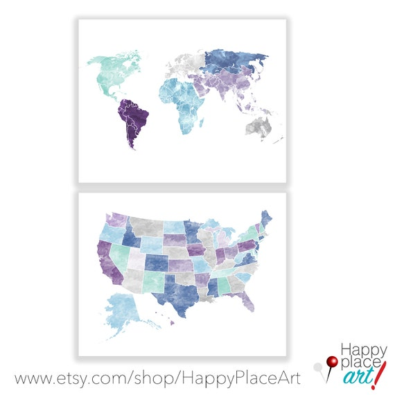 Aqua and Purple Map Set. Digital download, map prints available. World and USA Map set, Large World Map, Large US map, Customised travel map
