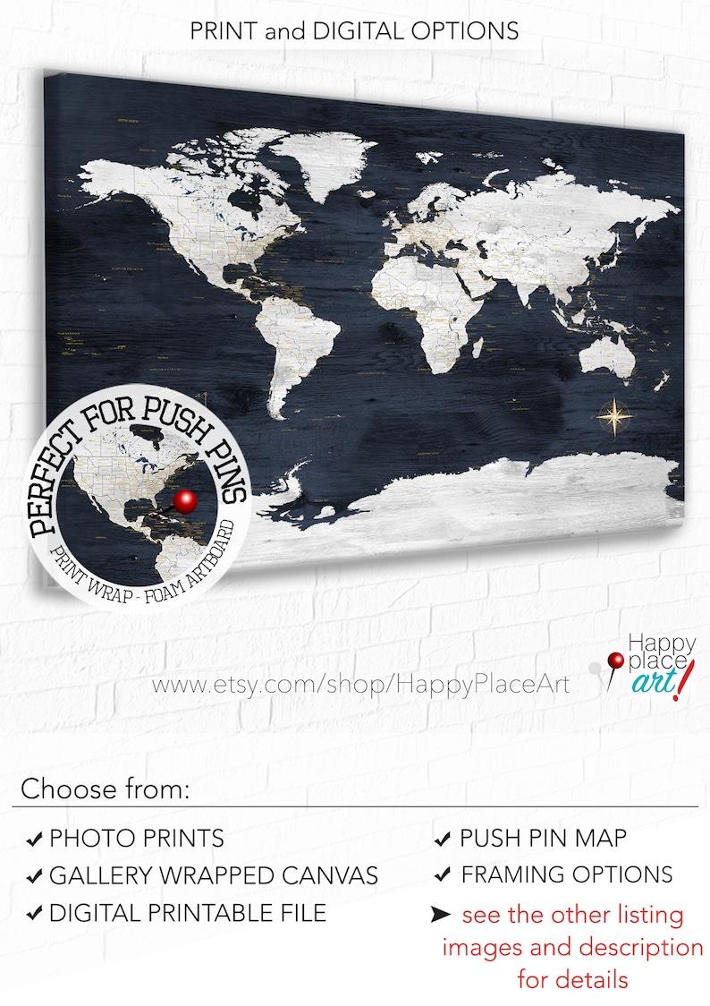 Anniversary Gift, World Map, Personalized Legend & Text, Navy and White  world map wall art, Large World Map Canvas, Push Pin Map World Art