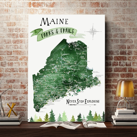 Maine Push Pin Map with State Parks and popular Hiking trails of ME, State Map Canvas, New England Adventures Gift Exploring Maine Art Print