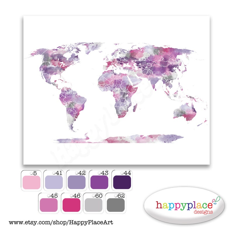 Watercolor World Map Colour And Size Options Personalise With Etsy