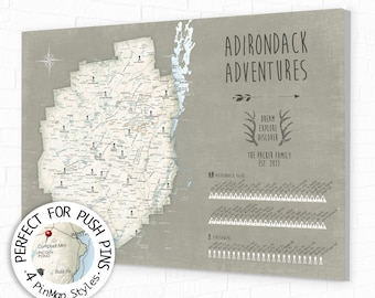 Hike the 46 Peaks & Pin your progress on a Push Pin Map Adirondack Mountain Map, Hiking High Peaks Park Poster or Canvas, 46er ADK Park Trek