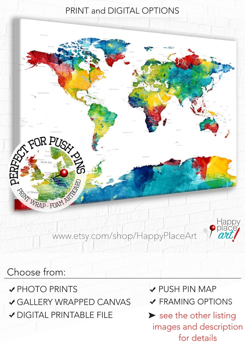 Colorful Detailed PushPin Map with Personalization included. image 0