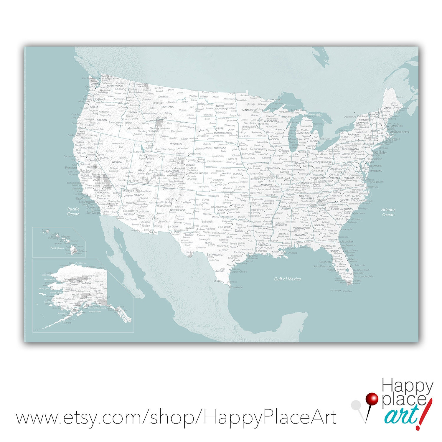 aqua usa map travel gift for her anniversary gift for wife usa
