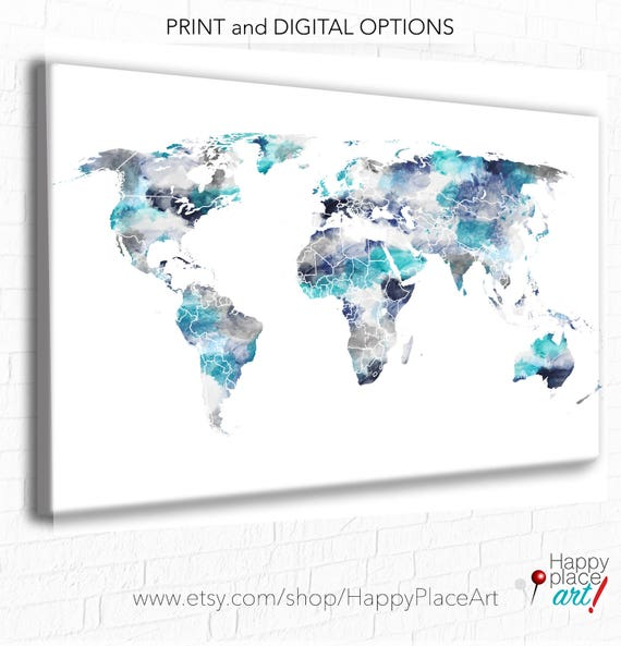 Watercolor World Map, Gift for Husband, Anniversary Gift, Fiance Gift, Personalized Gift for Boyfriend, Navy and Gray Map Print, Map World