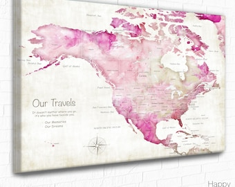 Caribbean Islands, Jamaica, Mexica, USA and Canada Push Pin Map, Vacation map Print, Pink USA map, Gift for Couple, Personalized Travel map