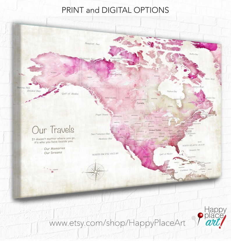 graphic regarding Printable Map of Caribbean Islands referred to as Caribbean Islands, Jamaica, Mexica, United states and Canada Thrust Pin Map, Getaway map Print, Crimson United states of america map, Present for Handful of, Custom-made Drive map