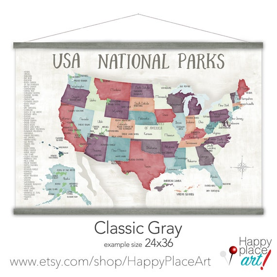 Canvas USA National Park Map, List of National Parks of America, Personalized Hiking and Mountain trekking Map, RV Road Trip Wall Decor Map