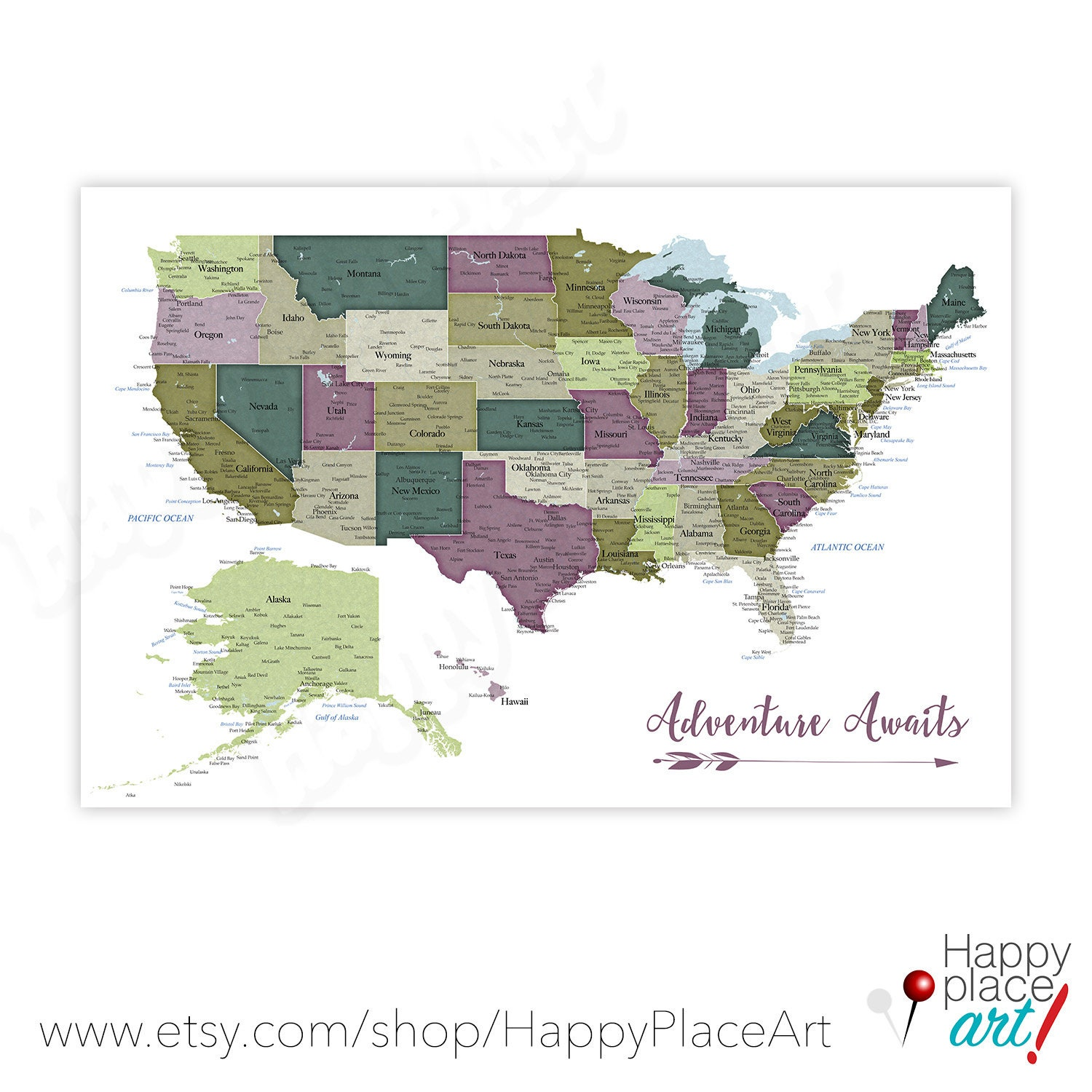 Picture of: Detailed Usa Map With Cities And States Labels Us Map Print With City Names And State Names Added Neutral Colors Push Pin Map Idea