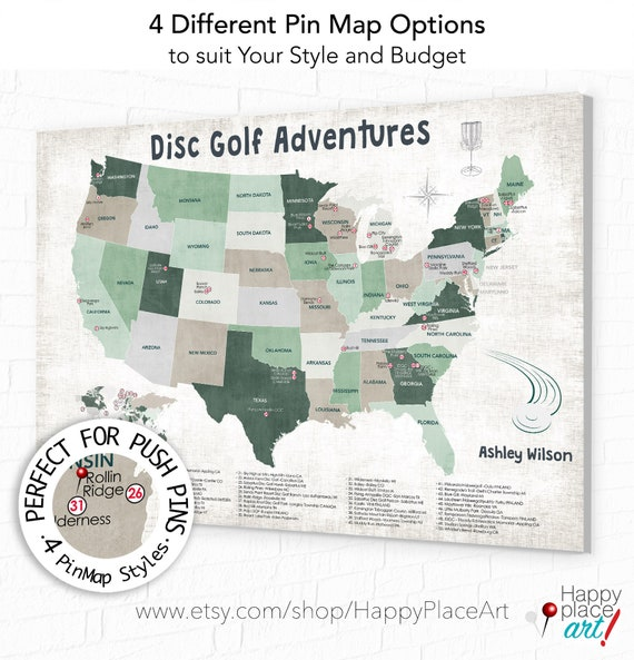 Map of Disc Golf Course Locations in USA, Disc Golfer Gift, Personalized World DiscGolfing Map, Disc Golf PinMap, Print or Disc Golf Canvas