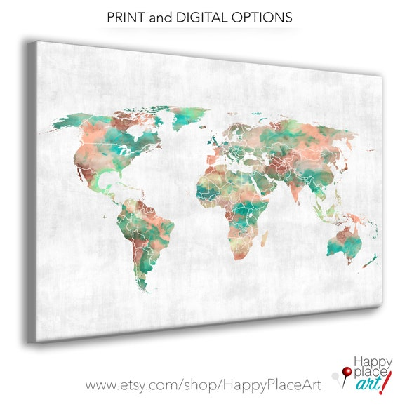 HUGE 72 inch Coral and Mint Green WORLD map Print or download the file. Aqua Watercolour World map Poster. Suit Push pin or travel journal.