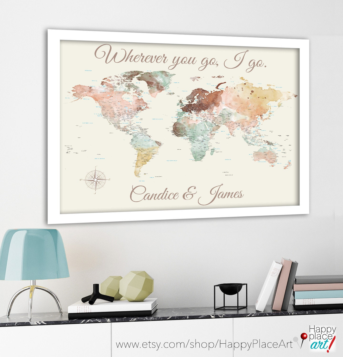 Romantic Personalized World Map Print, Customize the message, 1st ...