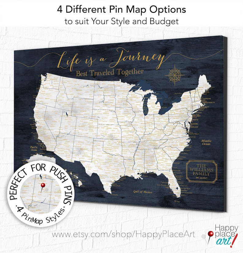 Life is a Journey USA Travel Map Any Custom Title. Works well image 0