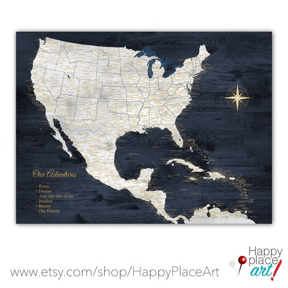 Map with USA Mexico & Caribbean. Large Navy Map for North American Adventurers. Push Pin Map, Large Print or Digital Download Printable.