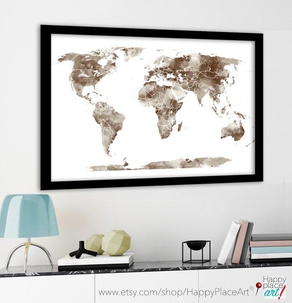 Large World Map Framed.Large World Map Canvas Travel Map Push Pin Map Framed World Etsy