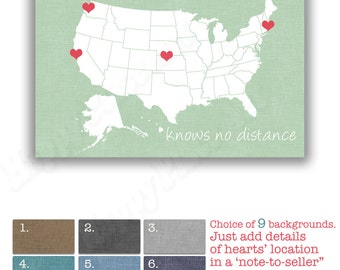 Cousins Heart Map, USA Long Distance Love Print, ANY State or Country. Love Between Cousins Knows no Distance, Personalized Cousin Map Gift