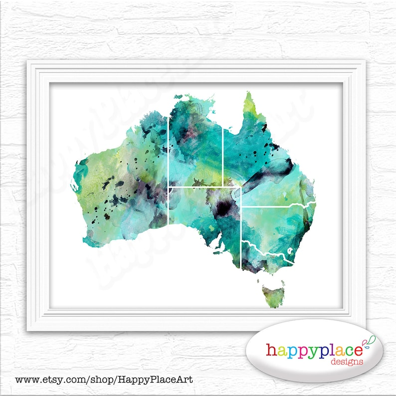 Australia Map Poster.Watercolour Map Of Australia Large Australian Map Poster Etsy