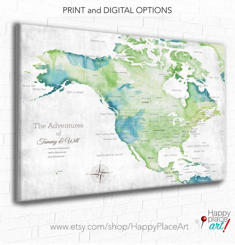 USA and Canada, Mexico Central America Map, Map for Man Cave, Gift for  husband, Anniversary Map, Family\'s Travel Map, Our Travel Memories