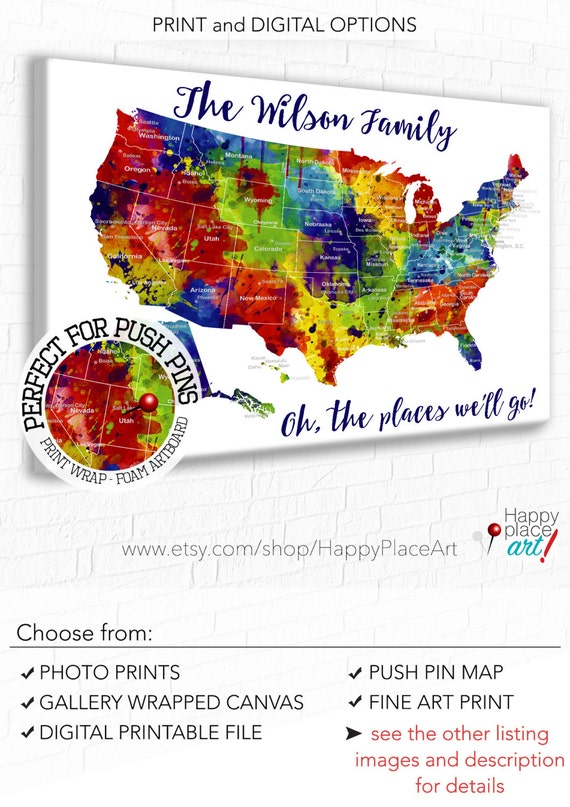 Large and bright art Family Travel Map. USA map with States and major  cities, Bright watercolor, Personalized us travel pin map with cities