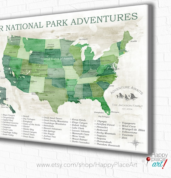 National Parks Map, National Park Gift, Gift for Hiker, US National Parks,  USA map with National Parks, Gift for traveler, Push Pin Map USA