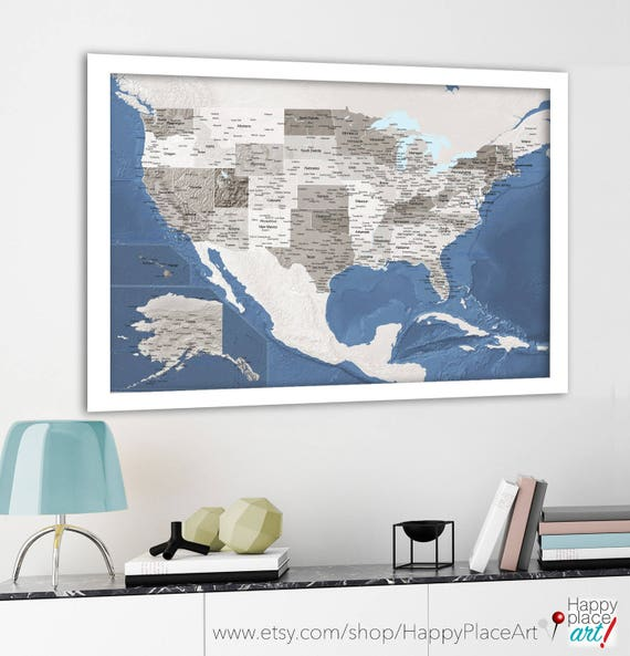 Large Detailed Usa Map Map Of United States Relief Map Usa Etsy