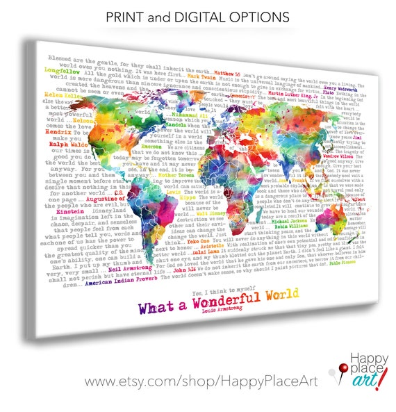 Wonderful World Map Poster Art, Artistic World map.  Watercolor world map in Rainbow Large World Map Typography Printable. Map with text art