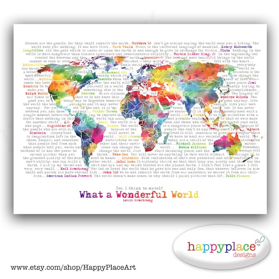 Wonderful world map poster art artistic world map etsy image 0 gumiabroncs Image collections