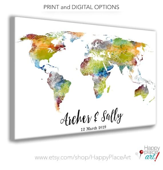 Custom Watercolor Travel map, Wedding signature map, alternative wedding guest book idea, World trip map print. Boyfriend Anniversary Idea