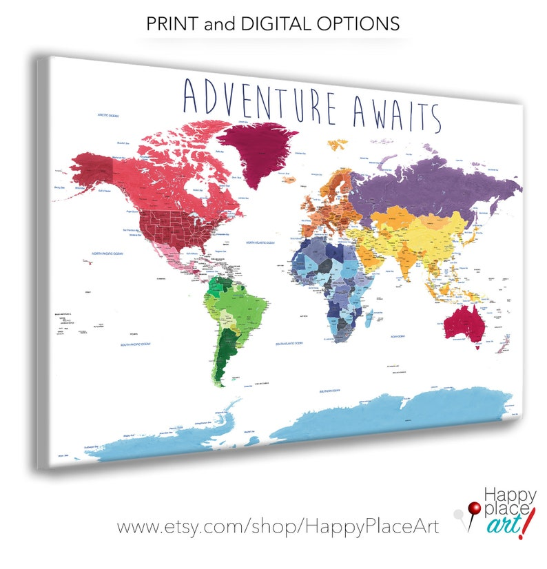 Educational World Map Print, Detailed World Map, Push Pin Foam Map, World  Map with quote, World map for kids, Adventure Awaits World Map,