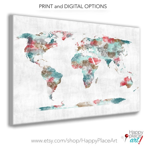 Very large Custom World Map Print with Watercolor Texture. Choice of sizes and background. Travel map, heart map, Office Art Pretty Map Art