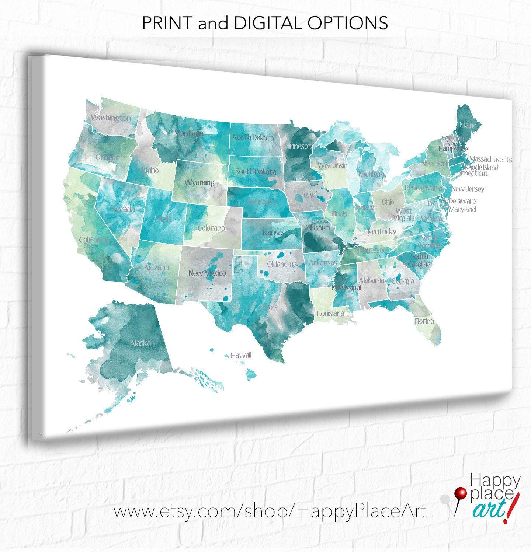 USA map with States, Aqua, Mint & Gray, State names on USA ...