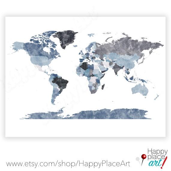 Textured World Map Poster Denim Blue and Greys. Gray World map poster. Printable world map, Grey Wall art, Large World map, traveller gift