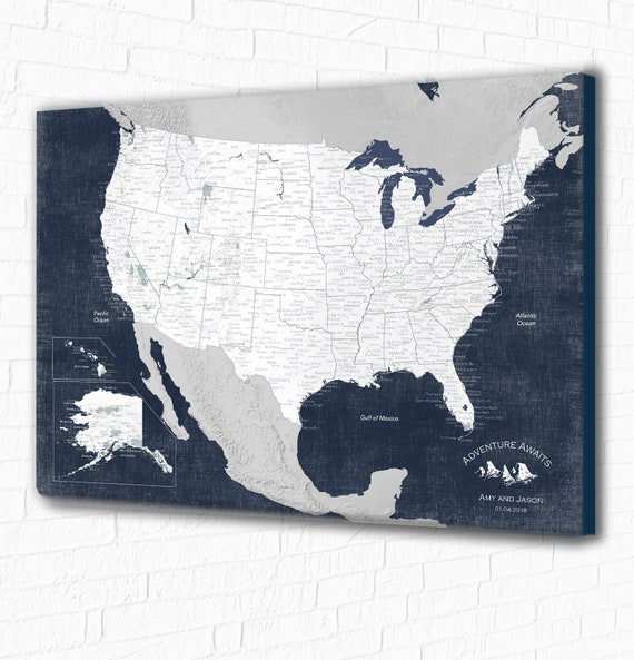 Most Detailed USA with National Parks. Large USA Poster or Ready Canvas for Push Pins. Frame the USA map for Family adventure travel map art