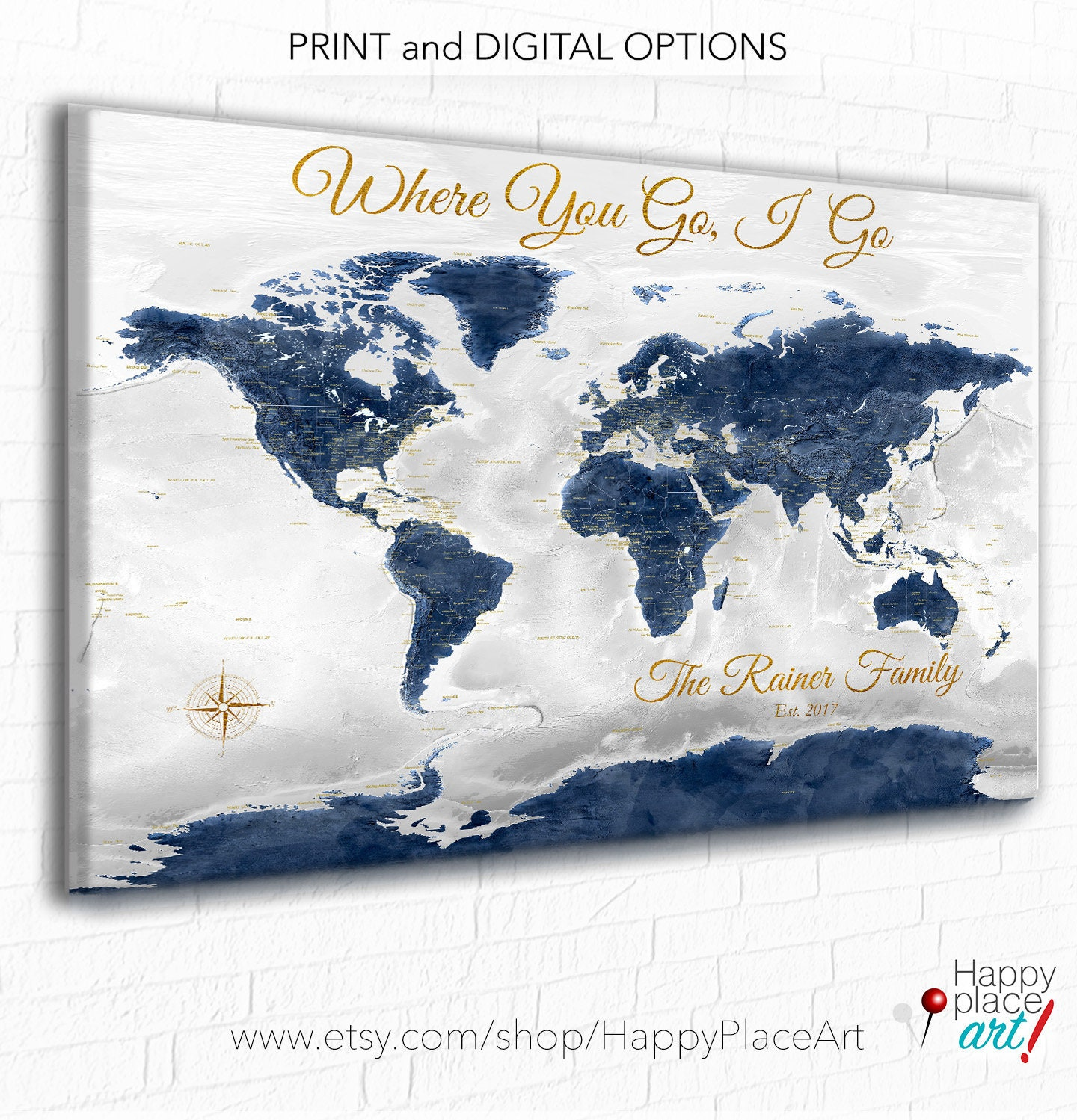 World Map with Romantic Quote, Personalized Anniversary ...