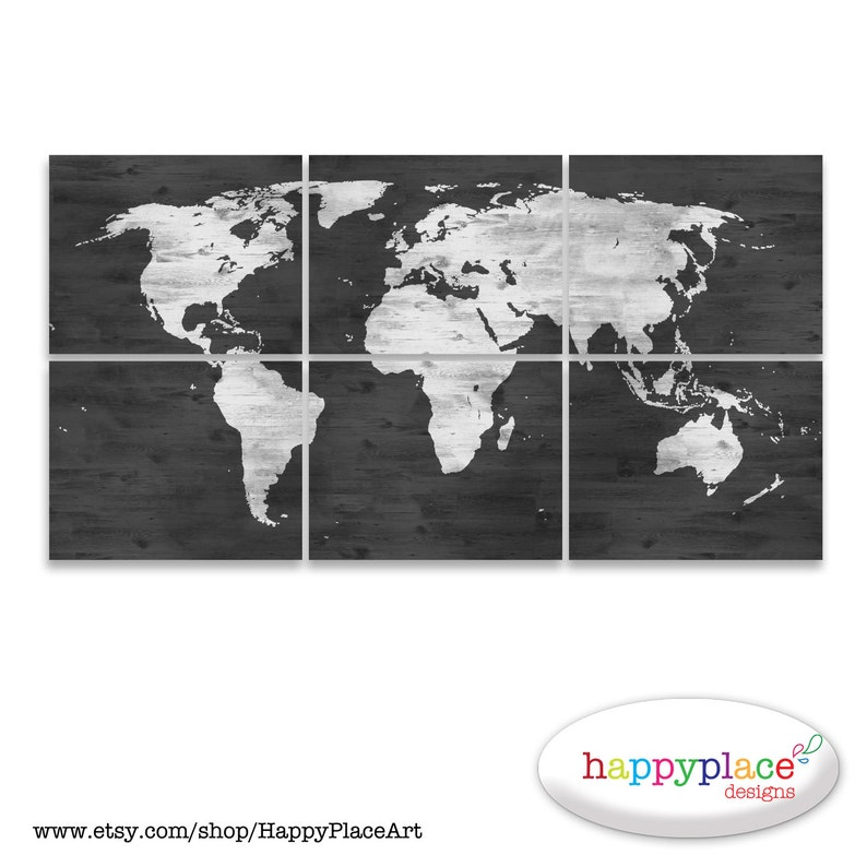 Black And White World Map Print With Timber Wood Grain Etsy
