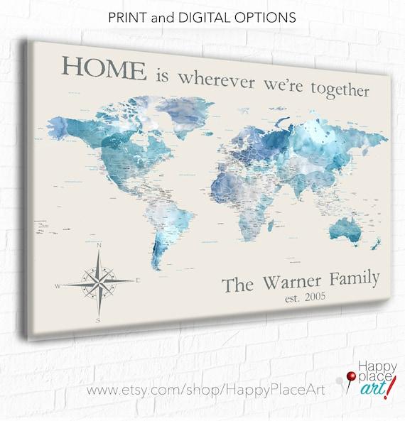 Personalized Anniversary Pushpin World Map.Personalized Anniversary Gift For Couple Personalized World Etsy