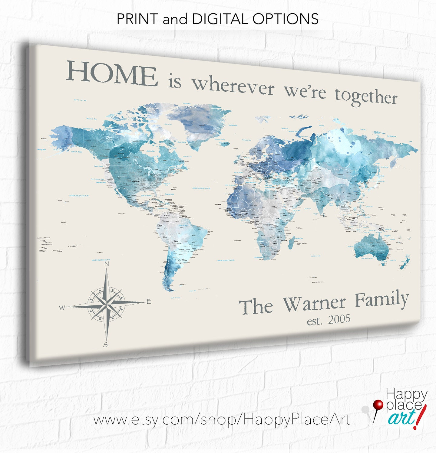 Personalized anniversary gift for couple personalized world map for personalized anniversary gift for couple personalized world map for family travels adventure awaits world map customized blue push pin map gumiabroncs Images