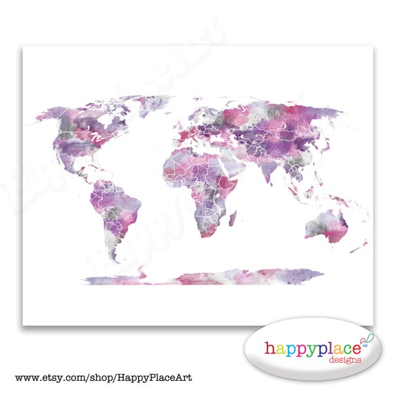Pink and purple wall art watercolor world map poster 8x10 gumiabroncs Images