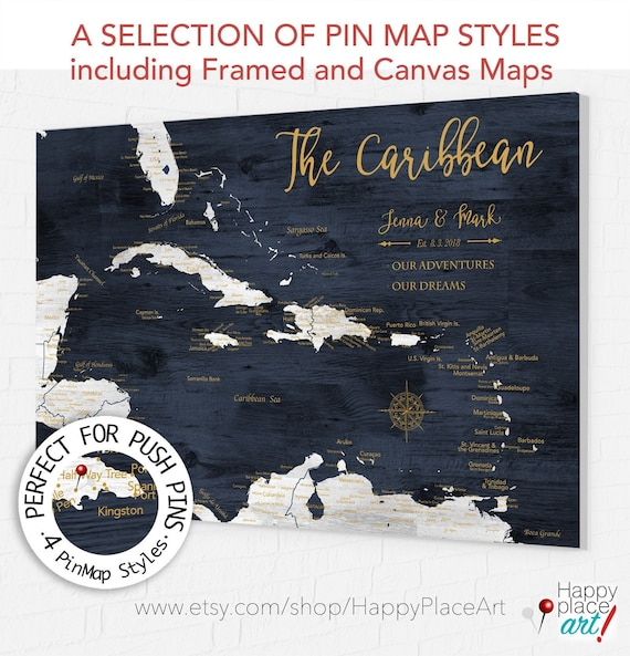 Push Pin Map of Caribbean, Personalized Canvas Caribbean Map for Pins, Mexico, St Johns, Bahamas Adventures, Paper Anniversary Map for Wife