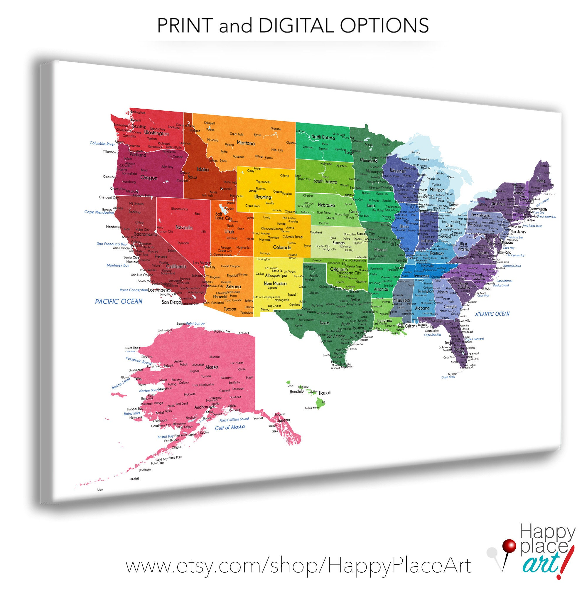 Bright Rainbow Color United States Map Us Map Canvas Family Etsy - Full-map-of-us