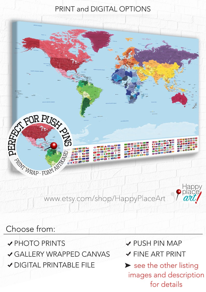 Detailed World map with city labels, Map with flags, World map print,  Country Flags, Educational world map, Travel map, world map push pin