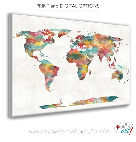 Very large Custom World Map, Print or Printable World Map Art, Red, Orange Decor, Push Pin Travel Map gift, World Push pin map, PushPin map
