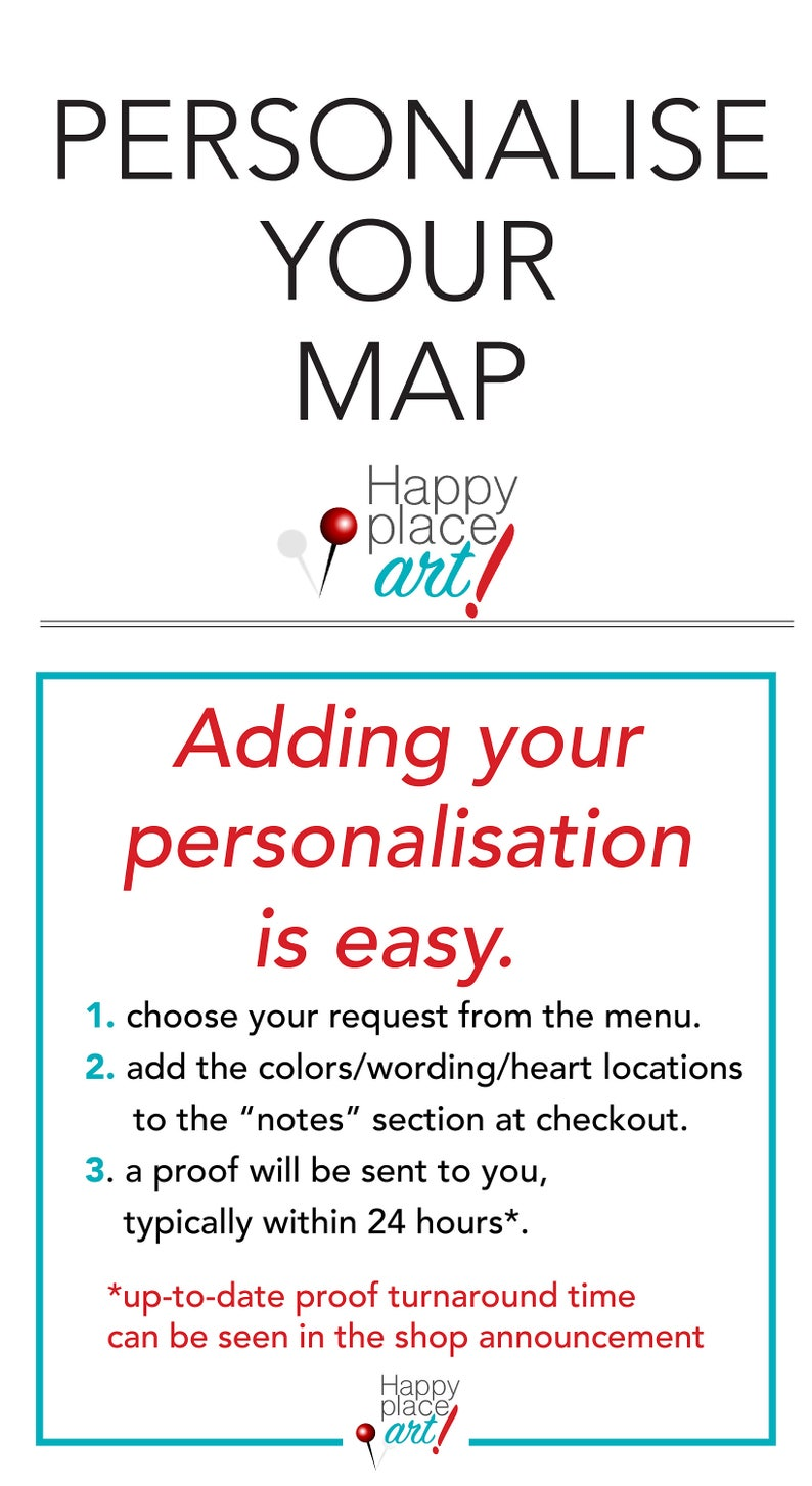 Personalized Map with quote or message Heart Map Long image 0