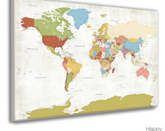Large World Map, Modern Detailed Map Art, Political Country Borders, Capital Cities named, Vacation Travel map, customized Anniversary Gift