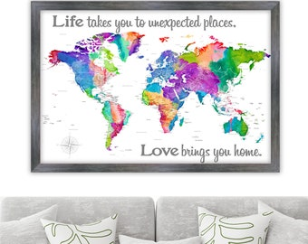 Fun and Colorful World map with Detailed Labels. Map or the World Wall Canvas or Poster with Travel Quote or Custom wording for Family Room