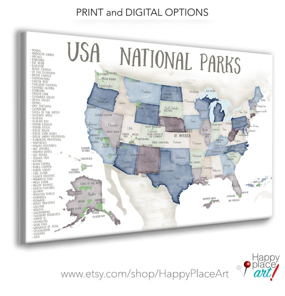 USA National Parks map for Push Pins, map with List of Park Poster, Travel Maps for Hiking Enthusiast Gift, National Park map on Pin Board