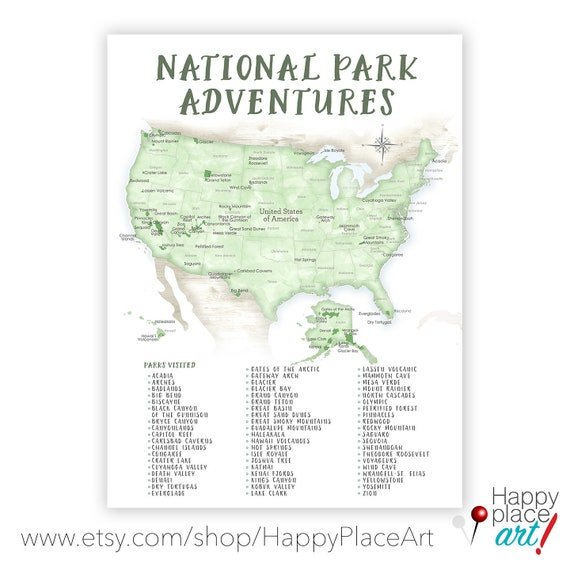Printable Checklist National Park Map of USA Gift for | Etsy