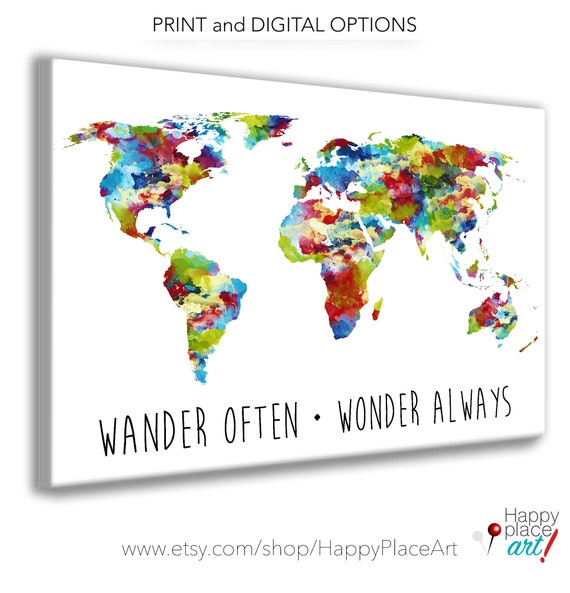Bright Multicolor Watercolor World Map Poster Print, Suit Neutral Gender Nursery Bedroom World Map Art, Dorm Room Print or Family Travel Map