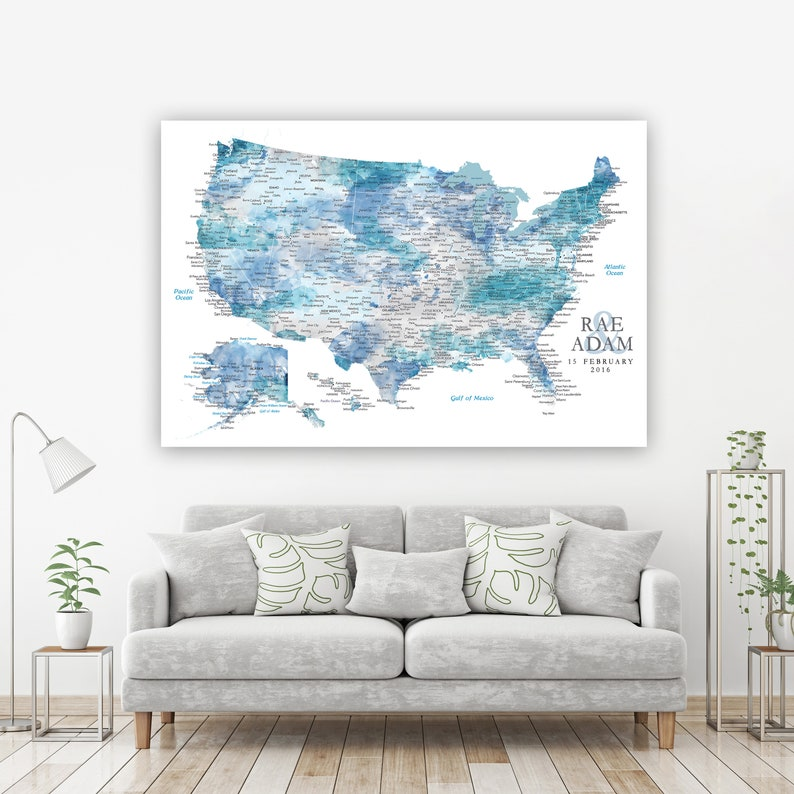 Personalized Map Gift for Husband Detailed USA with Cities & image 0