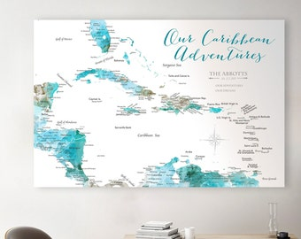 Custom Caribbean Map, Incl Optional Personalized Title and Legend / Motif, Map of Travels